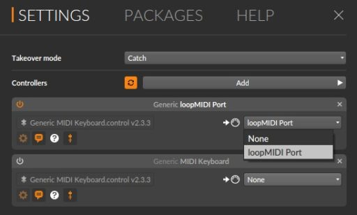 デバイス選択で「loopMIDI」を指定