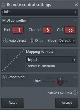 PortはMIDI Input 設定時のポートに合わせる。 Channelは「5」 Ctrlは「65」
