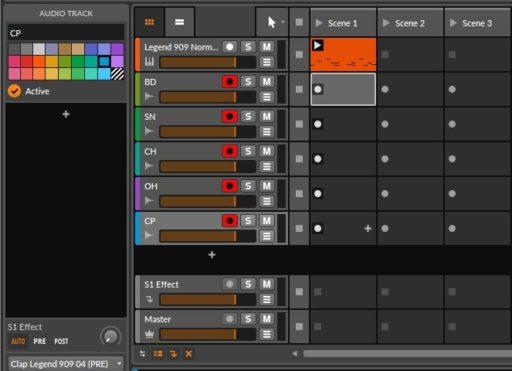 各クリップのRECボタン「●」をCtr(Macはたぶん「⌘」)+ クリックする。薄く背景色が付いたRECスタンバイ状態になる