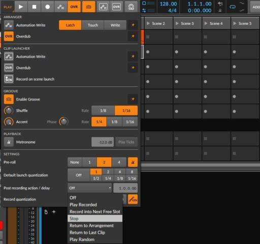 左上「PLAY」ボタンをクリックし、「Post recording action / delay」項目でループ録音の設定をする。「stop」で1ループ再生した後、クリップの録音を止めることができる