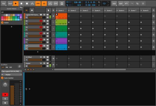 Bitwig Studio クリップランチャーモードで複数トラック同時に録音