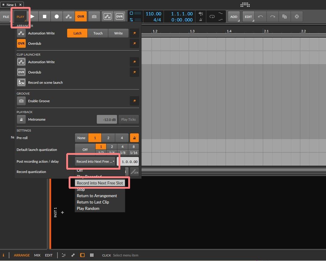 下の方にある「SETTINGS」項目の中の「Post recording action」のデフォルトがOFFになっているので、「Recording into Next Free Slot」を選ぶと次に空いているスロットで録音を開始してくれます