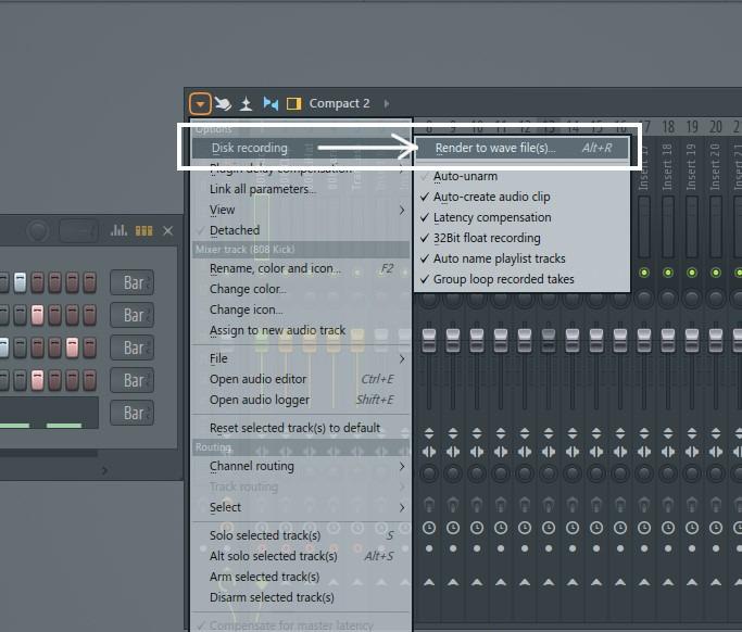 ミキサーウィンドウの左上にある右向き三角をクリックし、メニュー一番上の「Disk recording」→「Render to wave file(s)」を選択(ショートカット「Alt+R」)。