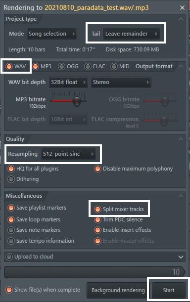 ファイルのクオリティまではバウンス設定と同じです。その下の項目群の中から「Split mixer Tracks」をオンにしておいてください。